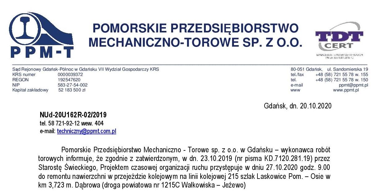 Informacja o utrudnieniach w ruchu drogowym na przejeździe kolejowym 27.10.2020 r.