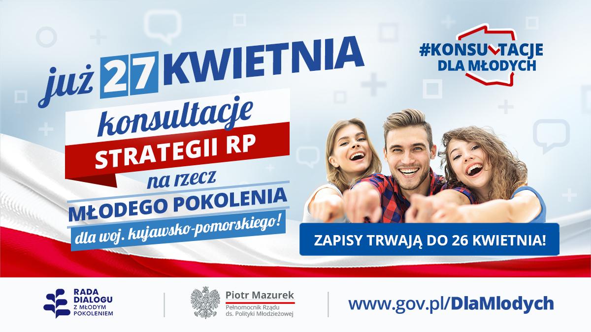 Zapisz się na konsultacje strategii dla młodzieży w woj. kujawsko-pomorskim!