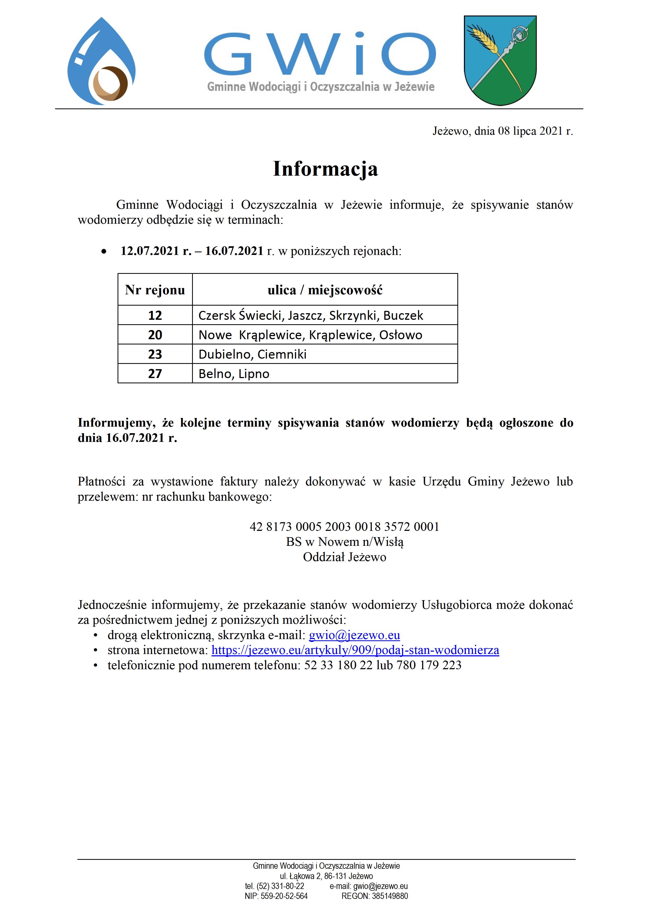 Terminy spisywania wodomierzy 08.07.2021