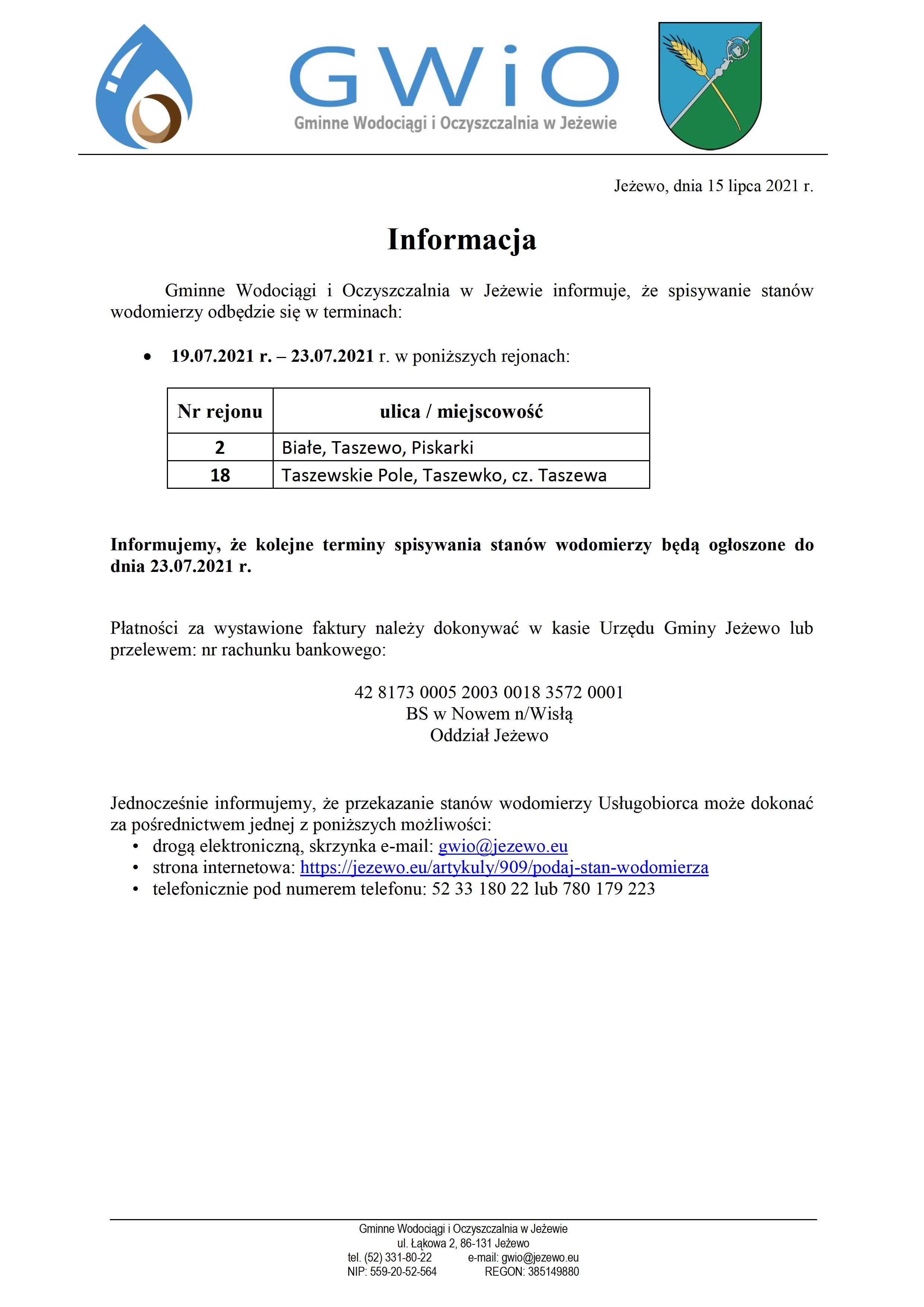 Terminy spisywania wodomierzy 15.07.2021