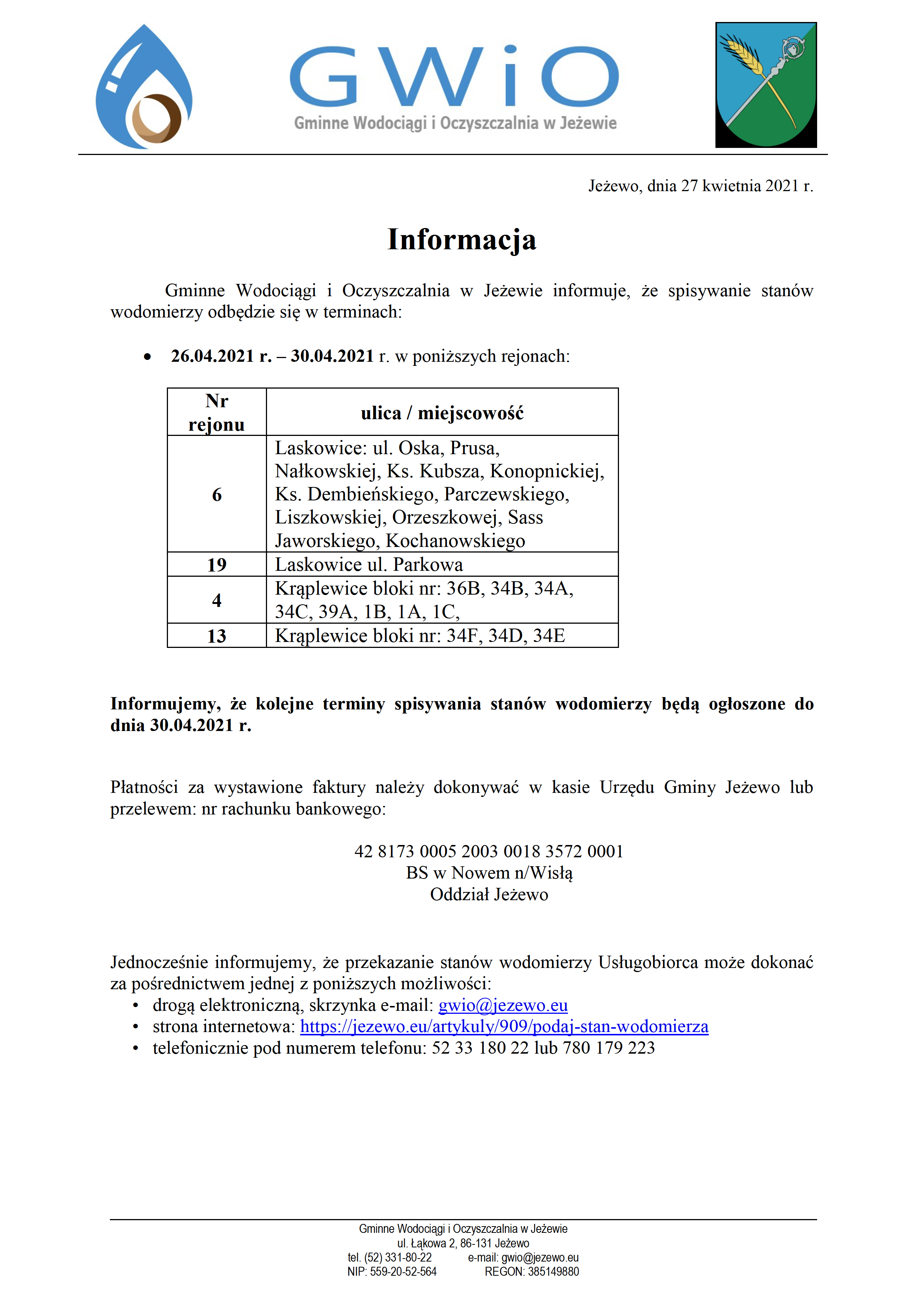Terminy spisywania wodomierzy 27.04.2021