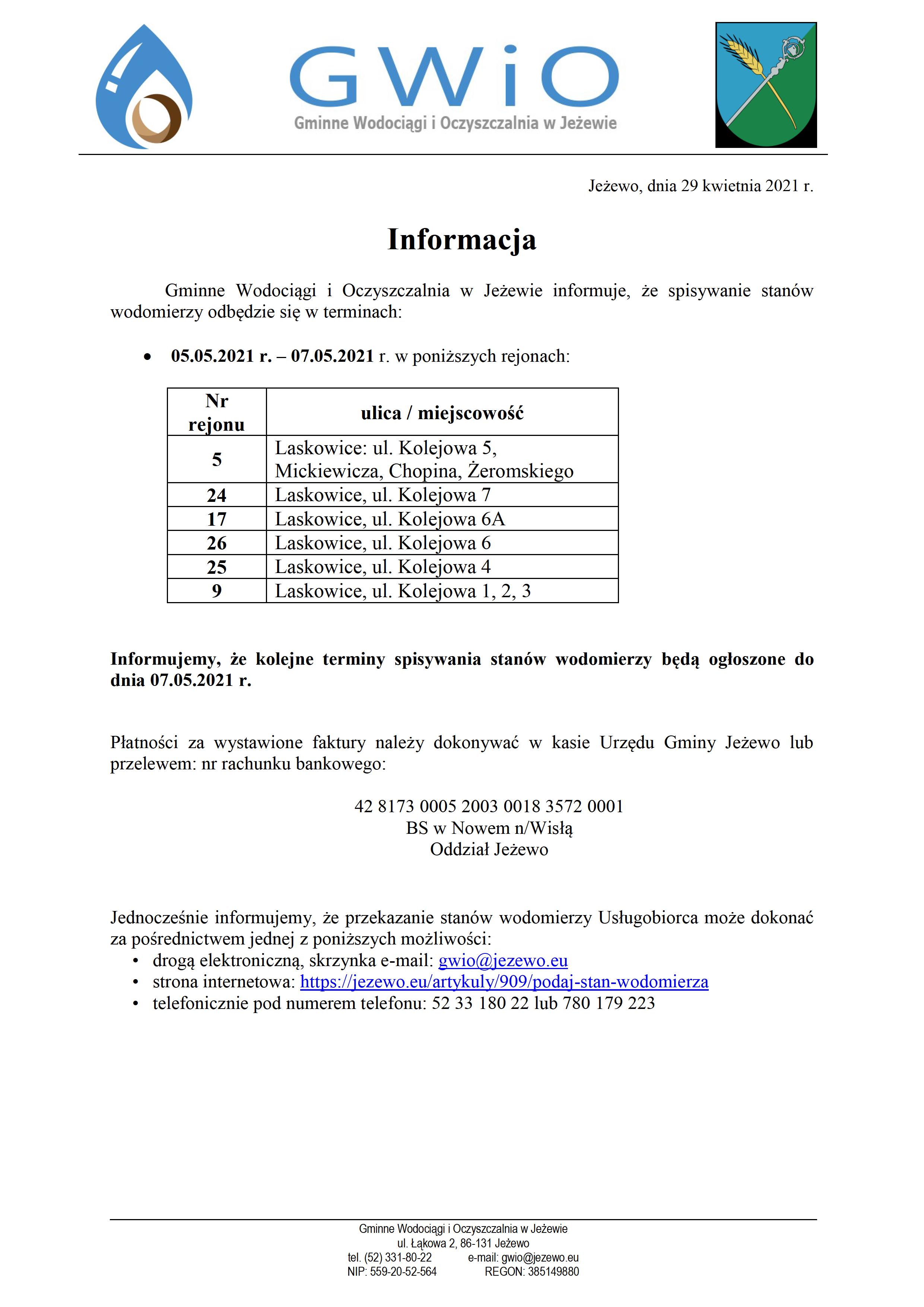 Terminy spisywania wodomierzy 29.04.2021