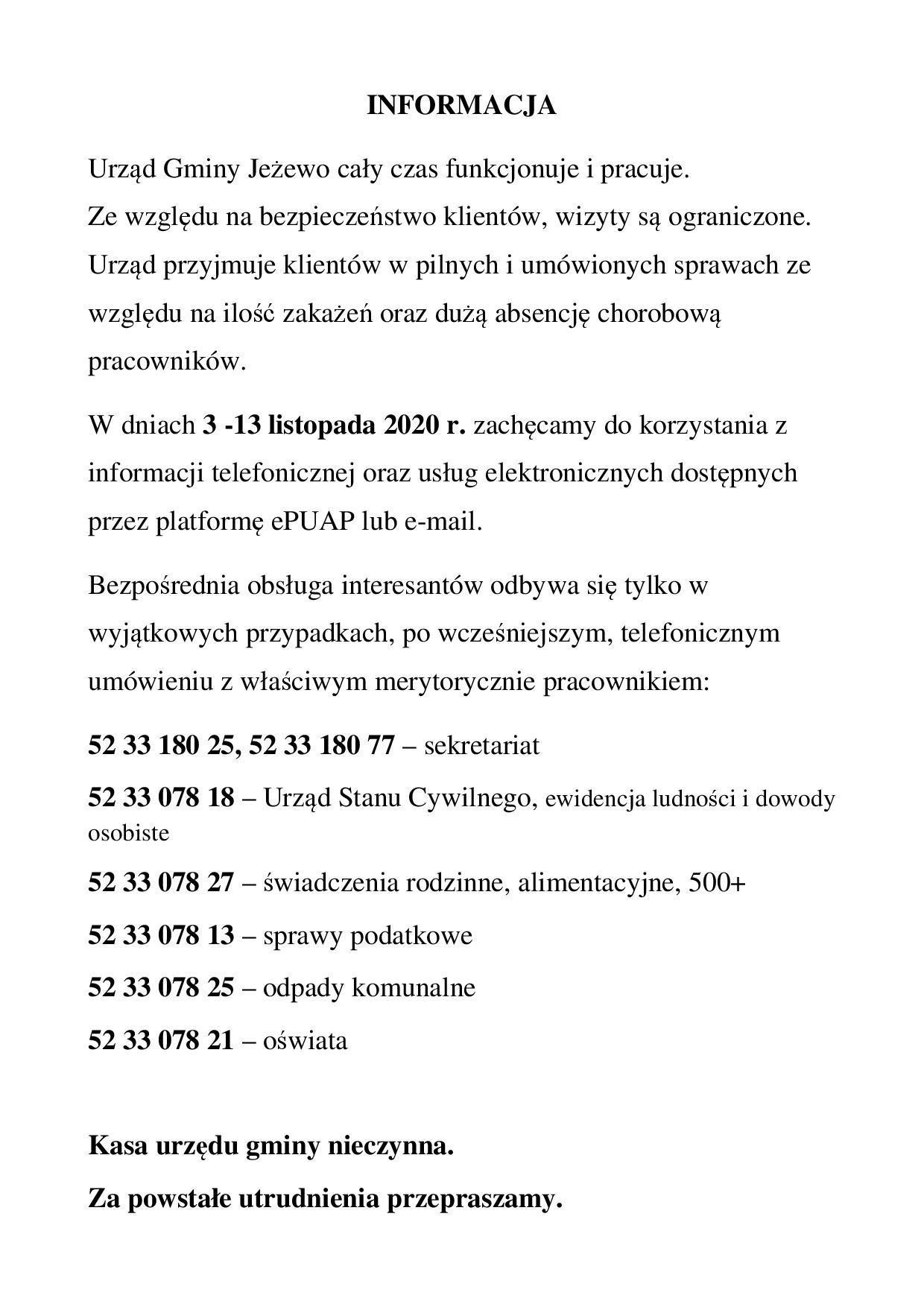 Informacja Urzędu Gminy